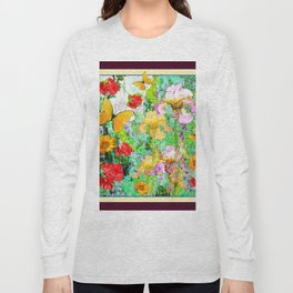 YELLOW IRIS BUTTERFLY SPRING GARDEN BURGUNDY TRIM Long Sleeve T-shirt
