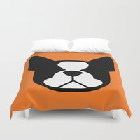 boston terrier Duvet Covers featuring Boston Terrier by smooshfaceunited
