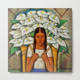Young Guadalajara Flower Seller with Calla Lilies by Diego Rivera Metal Print