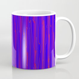 Vertical curved violet lines on a blue tree. Coffee Mug