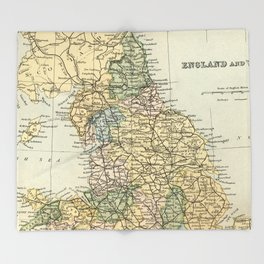 North England and Wales Vintage Map Throw Blanket