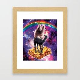 Space Cat Llama Alpaca Riding Lasagne Framed Art Print