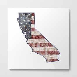 California State Map American Flag distressed rustic patriotic independence 4th of July Metal Print
