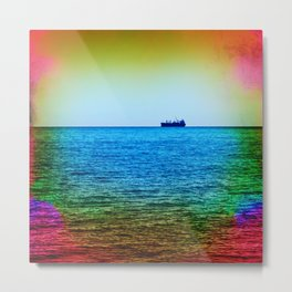 Cargo Ship on the Horizon Metal Print