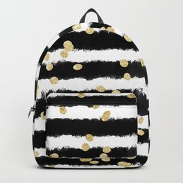 Modern black watercolor stripes chic gold confetti Backpack