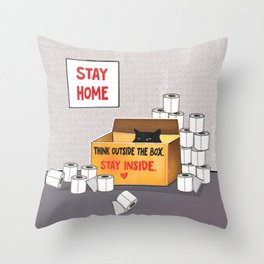 Cute black Cat in box. Think outside the box. Stay inside and wait. Stay home. Throw Pillow