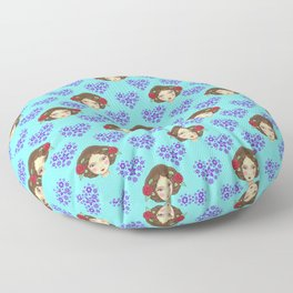 Beautiful boho girl dolls, pretty floral hearts feminine artistic romantic nursery pattern Floor Pillow