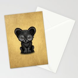 Cute Baby Black Panther Cub Wearing Glasses on Yellow Stationery Cards