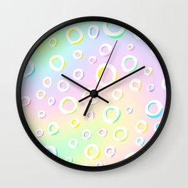Colorful Loopy Rainbow Pastel Design! Wall Clock