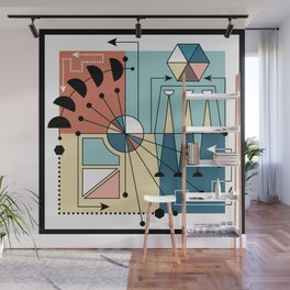 Colorful Mid Century Geometric Abstract Wall Mural