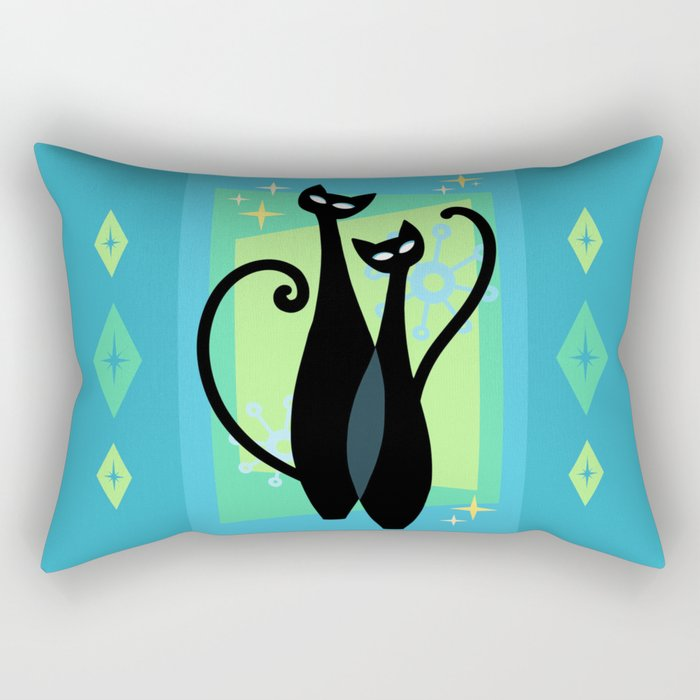 Sassy Sparkling Atomic Age Black Kitschy Cats Rectangular Pillow