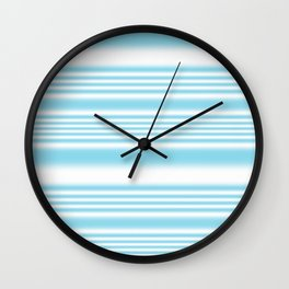 Sky Blue and White Stripes Wall Clock