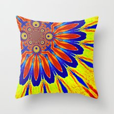 Primary Colors Modern Flower Throw Pillow