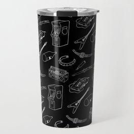 80's Pattern Black Travel Mug