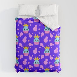 Little princess baby kawaii cupcakes, bold pink retro dots midnight blue girly seamless pattern Comforters