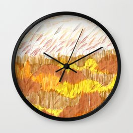 Golden Field drawing by Amanda Laurel Atkins Wall Clock
