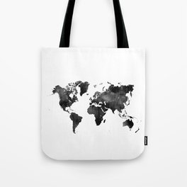 World Map   Black and White Watercolour Tote Bag