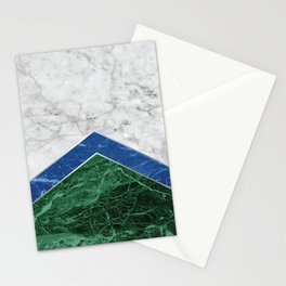 Arrows - White Marble, Blue Granite & Green Granite #220 Stationery Cards