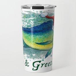 "Seas and Greetings ~ ""Mahi Mahi Splash"" by Amber Marine ~ Watercolor ~ (Copyright 2016) Travel Mug"