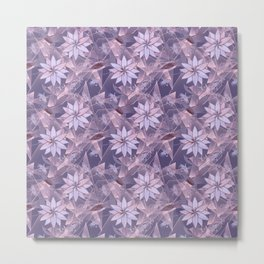 The floral pattern. Lilac flowers on abstract background. Metal Print