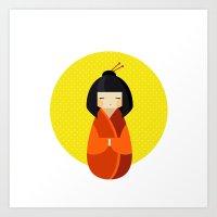Kawaii Kokeshi Doll Art Print
