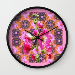 Fuchsia Purple Holly Hocks Pattern Grey Flora Art Wall Clock