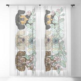 Triple Dachshunds Floral Sheer Curtain