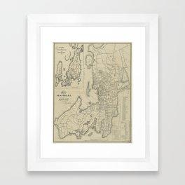 Vintage Map of Newport Rhode Island (1901) Framed Art Print