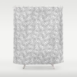 Bicycles on Grey Shower Curtain