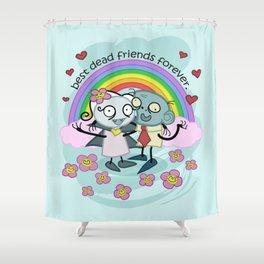 Best Dead Friends Forever - Steve the zombie & Violet the vapire Shower Curtain