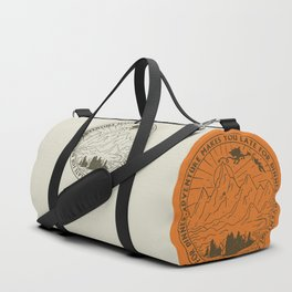 adventure makes you late for dinner x typography Duffle Bag