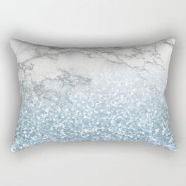 She Sparkles - Turquoise Teal Glitter Marble Rectangular Pillow