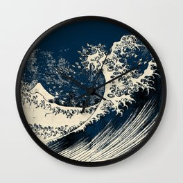 Japanese Waves Blue Wall Clock