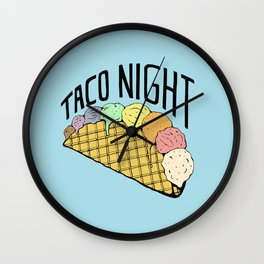 Ice Cream Taco Night Wall Clock