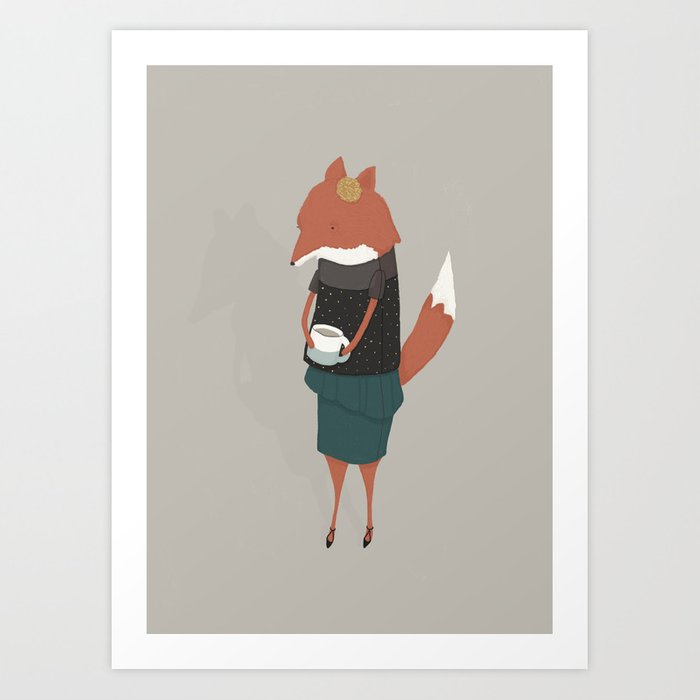 Audrey Enjoys Her Cup of Tea Art Print