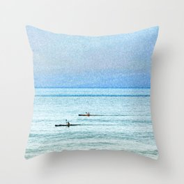 Seascape with kayaks watercolor Throw Pillow