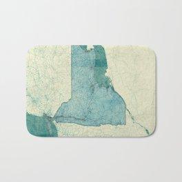 New York State Map Blue Vintage Bath Mat