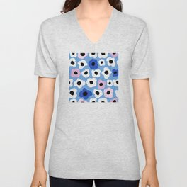 Pink Pop and Blue Contemporary Floral Pattern Unisex V-Neck