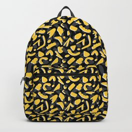 Bright Yellow and Black Abstract Cut Out Shapes Backpack