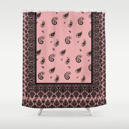 Indian Paisley Salmon Shower Curtain