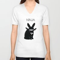 ninja V-neck T-shirts featuring NINJA by RAGING BUNNIES