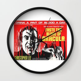 Taste the Blood of Dracula, vintage horror movie poster Wall Clock