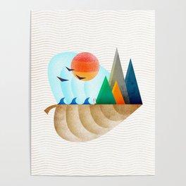 074 - Autumn leaf minimal landscape II Poster