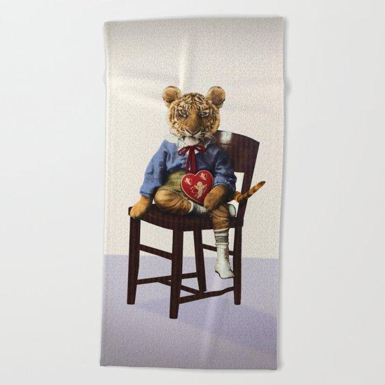 Tiny Tiger Valentine Beach Towel