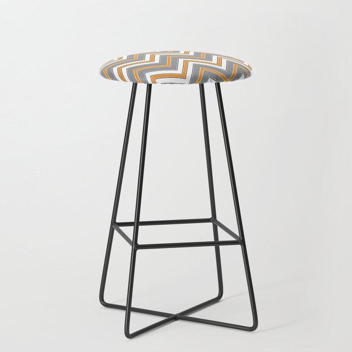 Chevron Pattern | Zig Zags | Orange, Grey, Black and White | Bar Stool