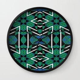 Quadrant Overlay Zigzag Tartan Mandala Wall Clock