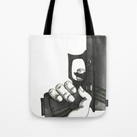 gun Tote Bags featuring GUN by Takeru Amano