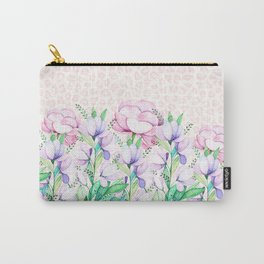 Pastel pink lavender watercolor floral animal print Carry-All Pouch
