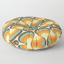 Wavy Turquoise Orange and Brown Retro Lines Floor Pillow