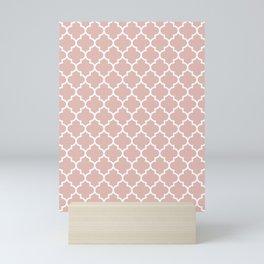 White Moroccan Quatrefoil On Rose Gold Pink Mini Art Print
